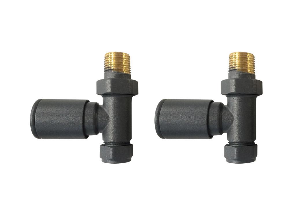 round straight radiator valves anthracite pair mylife. Black Bedroom Furniture Sets. Home Design Ideas