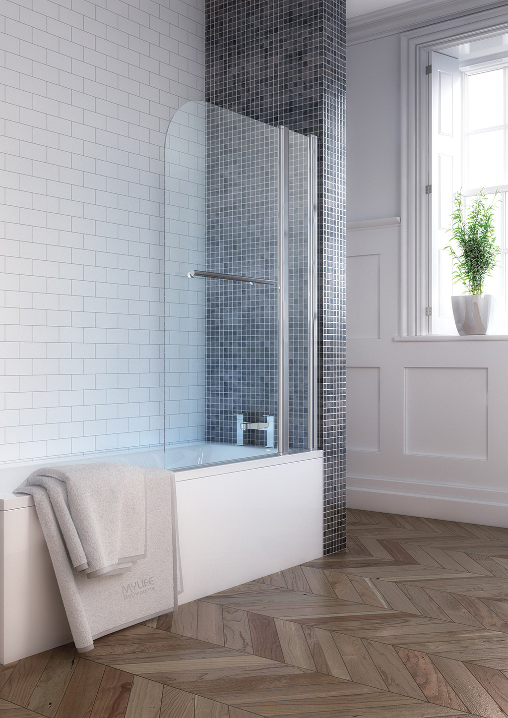 Square Single Bath Screen – MyLife Bathrooms